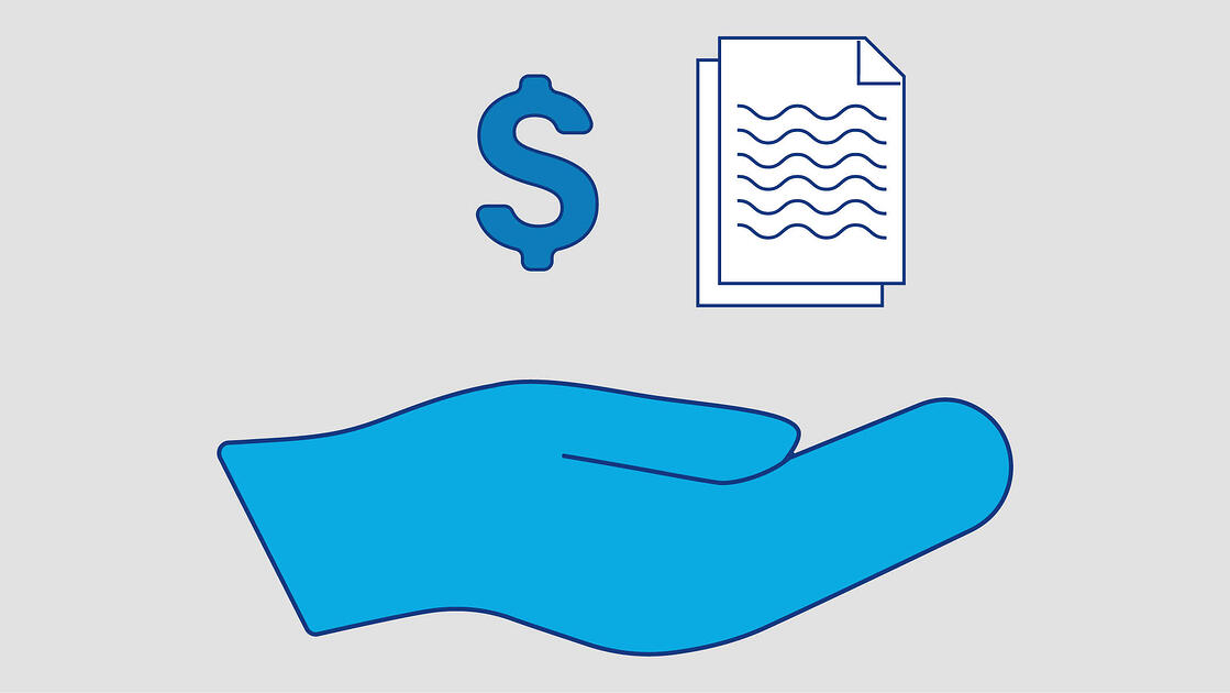 Icon of hand, dollar sign and document