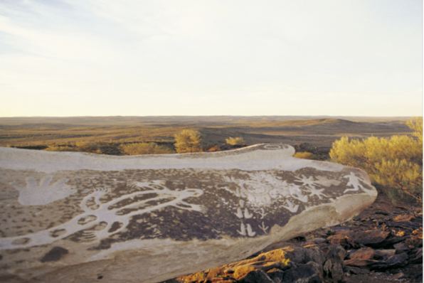 Indigenous artwork by Badger Bates in Sculpture Park, Broken Hill, outback NSW (Destination NSW)